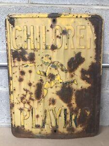 Vintage CHILDREN PLAYING Embossed Steel Street Road Sign Rare Version