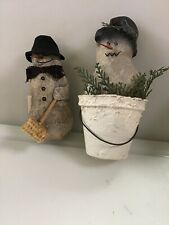 2 Olde World Reflections Handcrafted Dolls 2002 Skiing Snowman,figure Ornament