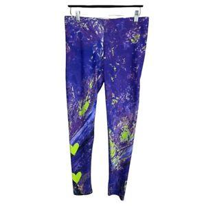 Debbie Dannheisser Threads Leggings Size L Purple Green Hearts Tie Dye