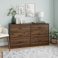 6 Drawer Dresser Organizer Bedroom Clothes Furniture Chest of Drawers Walnut
