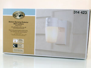 Hampton Bay Motion Sensing Exterior Light White,Turns on At Dusk 110* Detection