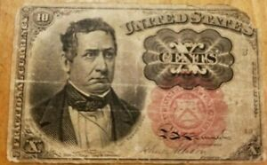 1874 10 Cents Fractional Currency red Seal Note circulated United States