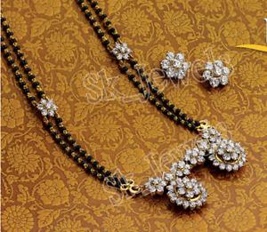3.80CT NATURAL ROUND DIAMOND 14K SOLID YELLOW GOLD WEDDING MANGALSUTRA SET
