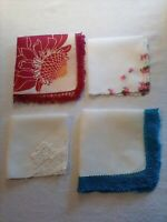 VINTAGE HANDKERCHIEFS LOT OF4 - LOVELY MULTI-COLORED PATTERNS & ACCENTS
