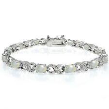 Silberfarben Perlmutter und Diamant Infinity Armband