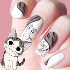 2*Pegatinas Decoración Uñas Manicura Negro Lindo Gato Decal Stickers Nail Arte
