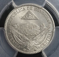 1869, Honduras (Republic). Copper-Nickel 1/4 Real Coin. Pop 5/3! Gem! PCGS MS65!