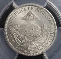 1869, Honduras (Republic). Copper-Nickel 1/4 Real Coin. Pop 5/3! Gem! PCGS MS65!
