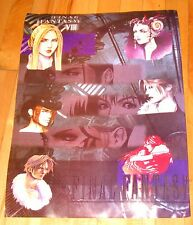 "Final Fantasy VIII characters laminated poster 21"" x15"" used vintage 1990s"