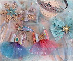 Frozen Elsa Princess Bow Sparkling Snow Fairy Wand Fancy Girls Kids Hair Clips