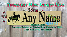 Sign Stable Door Plaque DRESSAGE Personalised LARGE Brushed Gold Aluminium Metal