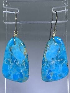 "Genuine Turquoise Drop Dangle 1.75"" L Sterling Silver Hook Earrings NW USA NWOT"