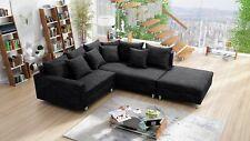 Modernes Sofa Couch Ecksofa Eckcouch in Gewebestoff schwarz mit Hocker Minsk R