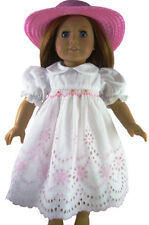 """For 18"""" American Girl Pink Eyelet Smocked Dress & Pink Straw Hat Doll Clothes"""