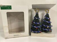 "Dept. 56 Village Accessories ""Decorated Sisal Trees"" 52714 Blue Silver Set 2"