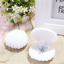 White Shell Shape Velvet Display Gift Box Jewelry Case For Earrings Ring