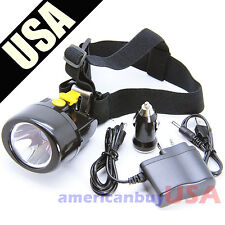 Lithium LED Light Head Lamp Mining Lamp Miner Camping Hiking Fishing Wireless