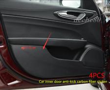 For Alfa Romeo Giulia 2017-19 Carbon Fiber Leather Door Anti-Kick Protective Pad