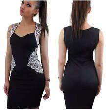 Señoras vestido de malla bordado Bodycon Midi-Celebridad inspiró