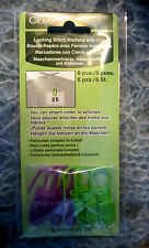 CLOVER  LOCKING STITCH MARKERS WITH CLIP - 6 PER PACKAGE!  PERFECT FOR NOTES!