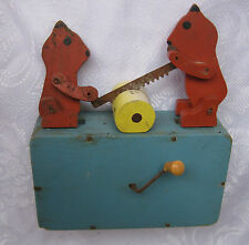 &  OLD Antique primitive Wooden Mechanical Child's Toy with animals, bears, wood