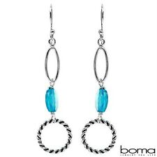 BOMA 925 STERLING SILVER AND BLUE CUBIC ZIRCONIA HOOK DANGLE CIRLCLE EARRINGS