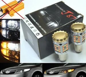 Canbus LED Switchback Light White Amber 1157 Two Bulb Front Turn Signal DRL Lamp