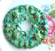 Filigree Stamping Vintaj Patina Green Wreath Ornate Victorian Pendant #999D
