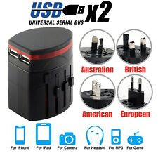INTERNATIONAL World Wide Universal Travel 2 USB Port Multi Charger Adaptor Plug