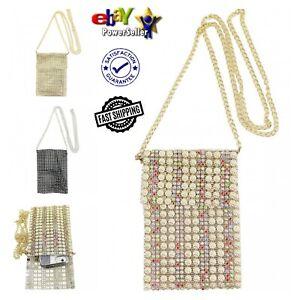 New Women's Girls Elegant & Stylish Crystal Encrusted Cross Body Bag/Phone Pouch