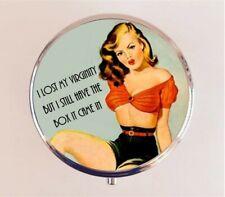 Lost Virginity Pill Box Pillbox Case Funny Pin Up Pinup Girl Retro Stash Box