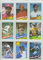 Vtg 1985 Topps MLB BB Cards L of 9 Dunston RC Smith Fingers Niekro Luzinsky