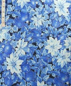 2 yds Silver Foil Outlines Lg Blue Pointsettias,Ornament Print Cotton Fabric