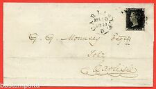 """SG. 2 d. A1 (2) i. AS25. """" RA """". 1d black. Plate 5. A fine used example on cover"""