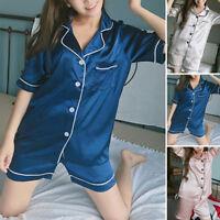 Womens Ladies Satin Pyjama Set Short Sleeve Nightwear Shorts Summer Loungewear
