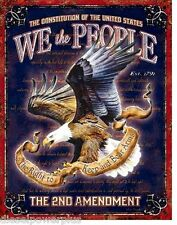 Vintage Replica Tin Metal Sign We the People 2nd amendment dont tread on me 1992