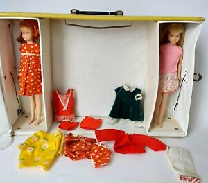 Vintage 1965 Skipper and Skooter Yellow Case w/clothes Blonde Red Hair 1963 Doll