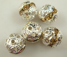 8mm 5pcs Czech champagne Crystal Rhinestone Silver Rondelle Spacer Beads f1e