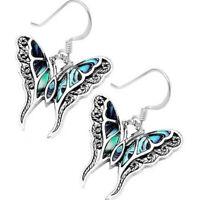 Women Butterfly Gemstone 925 Silver Ear Hook Dangle Drop Oval Cut Earrings