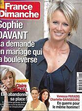 FRANCE DIMANCHE N°3558 7 NOVEMBRE 2014 DAVANT/ CHAZAL/ PARADIS&GAINSBOURG/ GREEN