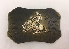 Vintage Brass Look Belt Buckle Bronco Cowboy Flowers Made In Japan
