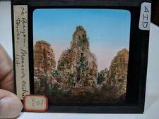 Colored Glass Magic Lantern Slide AID Cambodia Angkor Buddhist Central Tower