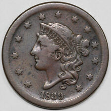 1839 1c N-4 Coronet or Matron Head Large Cent UNSLABBED