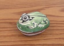 Vintage figural trinket box toad/frog hand painted enamel on metal 2x2.75""
