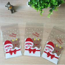 100Pcs Christmas Santa Claus Cellophane Party Cookie Candy Biscuits Gift Bags
