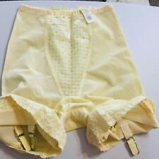 Vintage Union Label Long Leg Firm Pantie Girdle with Garters Usa Small Yellow