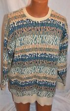 mens estate Neiman Marcus Scotland 100%  CASHMERE Abstract Crew Neck SWEATER L