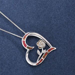 Women Red simulated Opal Rose Flower Heart Pendants Necklace Wedding Jewelry