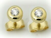 Damen Ohrringe Ohrstecker echt Gold 585 Brillant 0,10 ct 14 kt Gelbgold Diamant