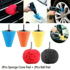 5x Foam Polish Buffing Polishing Cone Sponge Ball Pads For Car Wheel Corner kit